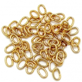 DQ ovaal ringetje 8x5,5mm 10 stuks goud mf8800