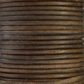 DQ Leer rond 4mm donker bruin naturel per 20cm