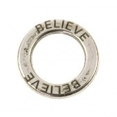 Ring 14mm believe antiekzilver metaal pp908