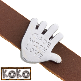 Leerschuiver  Koko Hand 'made with love'voor 10mm antiekzilver metaal FG553