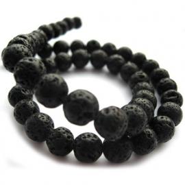 Lava steen 8mm rond zwart