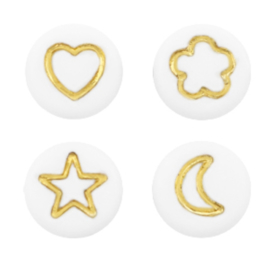 "Letterkraal ""icon mix"" acryl plat rond 7mm wit-goud 5 stuks"