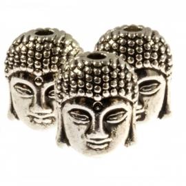 Boeddha 11x9x8mm antiekzilver metaal