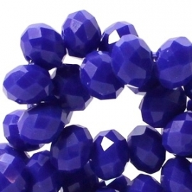 Top facet 4x3mm rondel cobalt blue opaque 17 stuks 18131