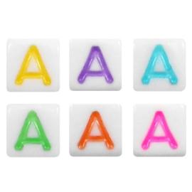 "Letterkraal ""A"" acryl vierkant 6x6mm multicolor-wit"