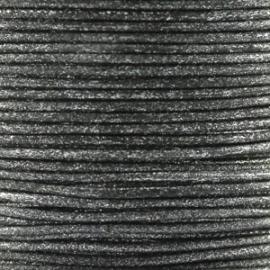 Waxkoord zwart metallic 1mm per meter