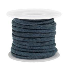Gestikt imitatie leer 4x3mm dark blue grey 40196