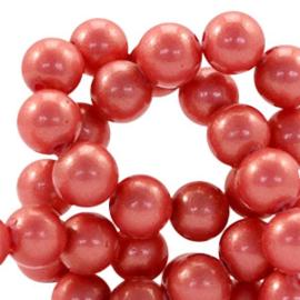 Glaskraal 6mm pearl coating pomgranate rose 41526