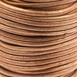 DQ Leer rond 2mm copper metallic per 20cm