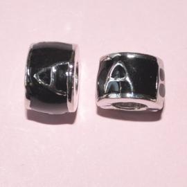 Pandora Style metalen kraal 10x8mm zwart