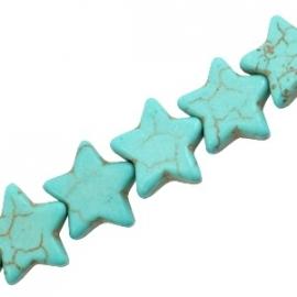 Turquoise Keramiek kralen ster 15mm turquoise blauw 37535