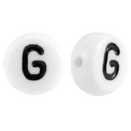 "Letterkraal ""G"" acryl plat rond 7mm wit-zwart"