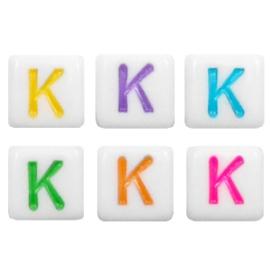 """Letterkraal """"K"""" acryl vierkant 6x6mm multicolor-wit"""