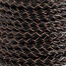 DQ Leer rond gevlochten 3mm zwart naturel edge 28962
