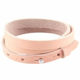 Cuoio armband triple 8mm nubuck leer light coral pink 27389