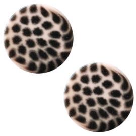 Cabochon Polaris plat 12mm leopard rosa pink 43801