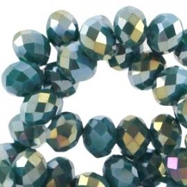 Top facet 8x6mm rondel emerald blue zircon opaque diamond coating 28887