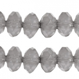 Acryl facet disc 6x4mm grijs opaal 25 stuks