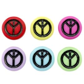 """Letterkraal """"peace"""" acryl plat rond 7mm multicolor 5 stuks"""