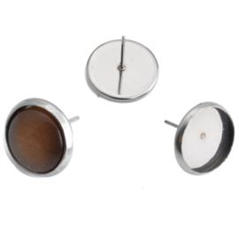 RVS oorbel voor 12mm cabochon 14x13mm, per paar Q00158