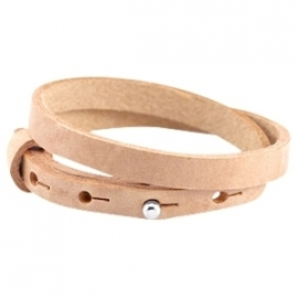 Cuoio armband dubbel 8mm leer cream cognac brown 31256