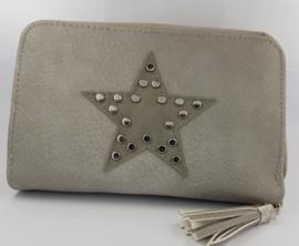 Portemonnee met ster en studs, lichtgrijs