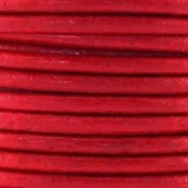 Leer rond 2mm rood per 20cm