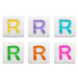 "Letterkraal ""R"" acryl vierkant 6x6mm multicolor-wit"