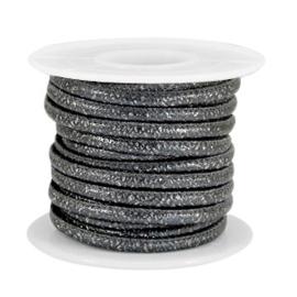 Gestikt imitatie leer 4x3mm sparkle anthracite grey metallic 40285