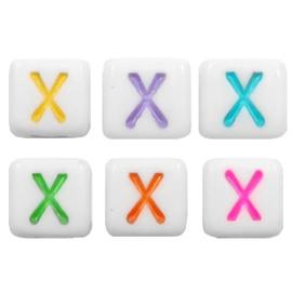 """Letterkraal """"X"""" acryl vierkant 6x6mm multicolor-wit"""