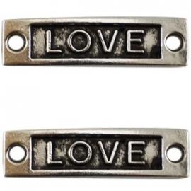 Tussenzetsel Love 34x8mm antiekzilver metaal