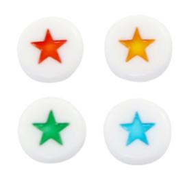 "Letterkraal ""sterretje"" acryl plat rond 7mm wit met multicolor 5 stuks"