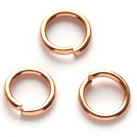 Ringetje 5mm, 0,8mm dik 25 stuks rosegoud D11287