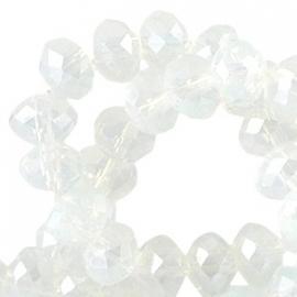 Top facet 4x3mm rondel white opal diamond coating 10 stuks 26735
