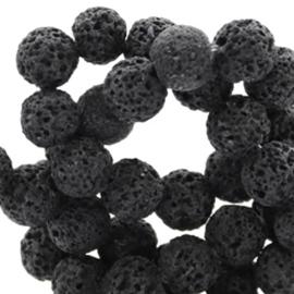 Lava steen 8mm rond mat dark anthracite black 49613