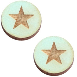 Cabochon plat 12mm hout sea green star 42020