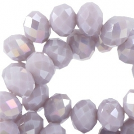 Top facet 6x4mm rondel light violet grey opaque diamond coating 10 stuks 25471