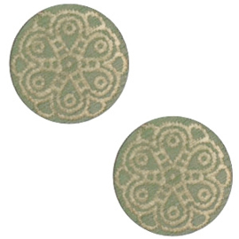 Cabochon plat 12mm hout dark green mandala 47144
