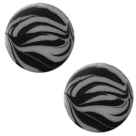 Cabochon Polaris plat 12mm zebra silver night 43755