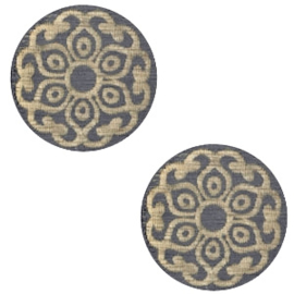 Cabochon plat 12mm hout dark grey mandala 47135