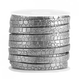 Plat imitatie leer 5mm croco zilver antraciet 33514