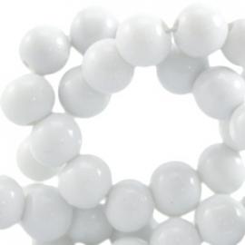 Glaskraal opaque 4mm wit grijs 10 stuks 23930
