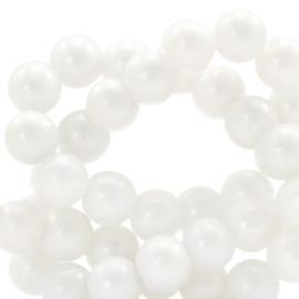 Glaskraal 4mm glitter dust white 49192