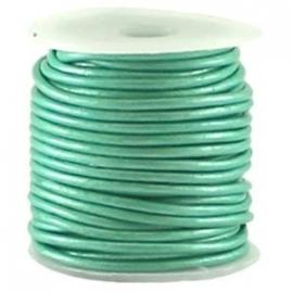 DQ Leer rond 3mm metallic aqua turquoise per 20cm