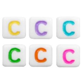 "Letterkraal ""C"" acryl vierkant 6x6mm multicolor-wit"