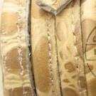 DQ Stitched leer 8x5mm creme bruin croco