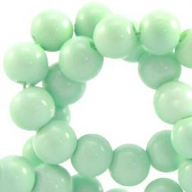 Glaskraal opaque 6mm mint groen 10 stuks 23899