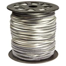 Imitatie suede 3mm zilver