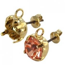 DQ oorsteker met oog voor SS39 goud nikkelvrij, per paar 18599