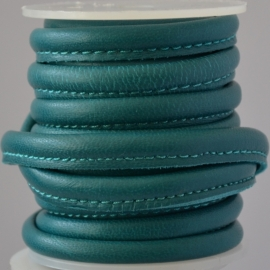 DQ Stitched nappa leer 8x5mm donker turquoise